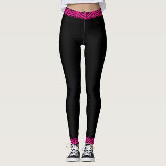 Pinkfarbenes rosa u. schwarzes 4Tina Leggings