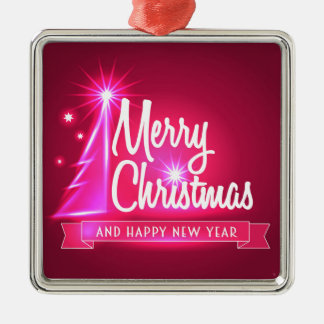 Pinkfarbenes Weihnachten Quadratisches Silberfarbenes Ornament