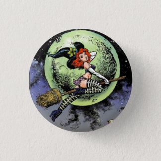 Pinup-Hexe-Knopf Runder Button 3,2 Cm