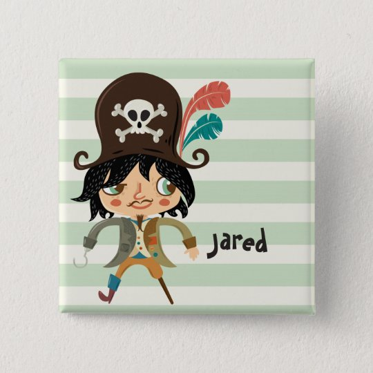 Pirat auf grünen Pastellstreifen Quadratischer Button 5,1 Cm