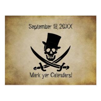 Pirat, der Save the Date Postkarte Wedding ist