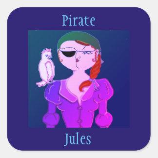 Pirat Jules der Öko-Piratenaufkleber Quadratischer Aufkleber