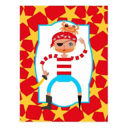 Pirate grincheux jouant avec des crabes carte postale