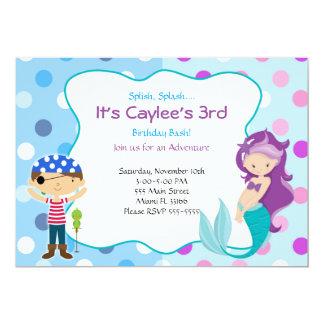 Pirate Mermaid Invitation Kids Birthday Party 12,7 X 17,8 Cm Einladungskarte