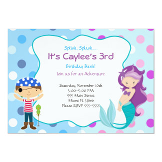 Pirate Mermaid Invitation Kids Birthday Party Karte