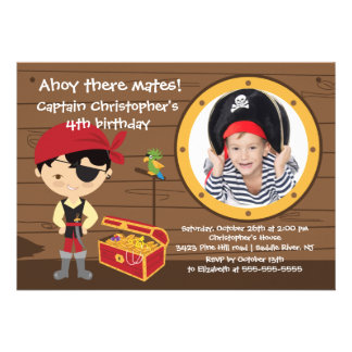Piraten-ahoi Kamerad-Jungen-Foto-Geburtstags-Party Personalisierte Ankündigungskarte