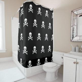 Piraten-Flaggen-Schädel und Knochen-Piratenflagge Duschvorhang