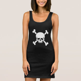 Piraten-Flaggen-Totenkopf mit gekreuzter Knochen Ärmelloses Kleid