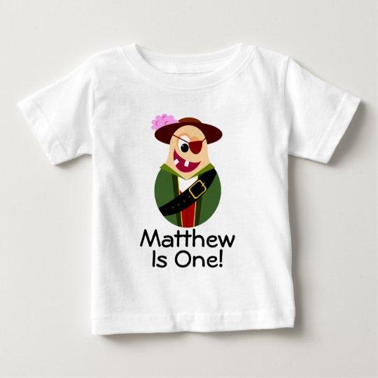 Piraten-lustiger 1. Geburtstags-personalisierter T Baby T-shirt