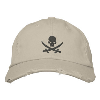 Piraten-Schädel-Schwerter Bestickte Kappe