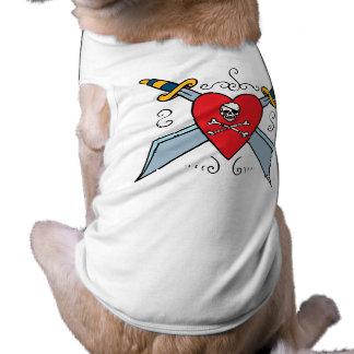 Piraten-Schädel-Tätowierung Ärmelfreies Hunde-Shirt