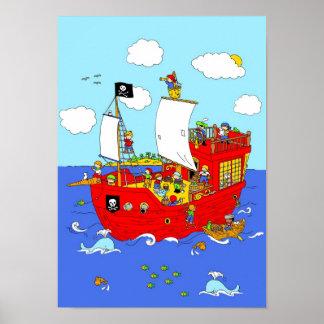 Piraten-Schiffsszene Poster
