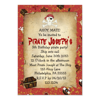 Piraten-Thema-Geburtstags-Einladung 12,7 X 17,8 Cm Einladungskarte