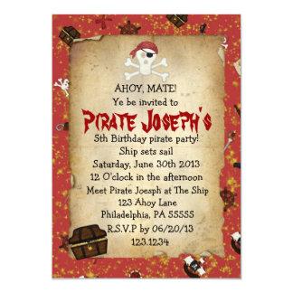 Piraten-Thema-Geburtstags-Einladung