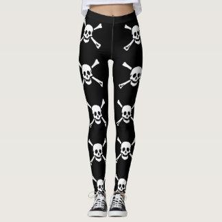 Piraten-Totenkopf mit gekreuzter Knochen-Gamaschen Leggings