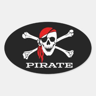 Piraten-Totenkopf mit gekreuzter Knochen-ovaler Ovaler Aufkleber