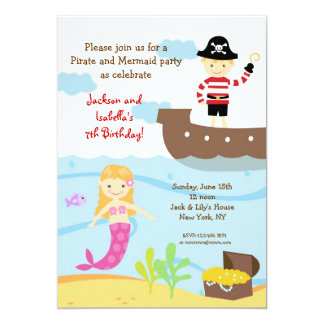Piraten-und Meerjungfrau-Geburtstags-Party 12,7 X 17,8 Cm Einladungskarte