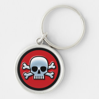 Piratenflagge auf Rot Schlüsselanhänger