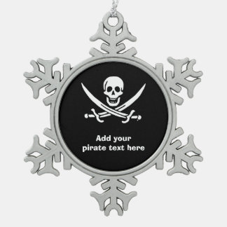 Piratenflaggepiratenflagge Schneeflocken Zinn-Ornament