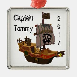 Piratenschiff Kapitän Verzierung Silbernes Ornament