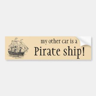 Pirates vintages, croquis d'un bateau d'arme à feu autocollant de voiture
