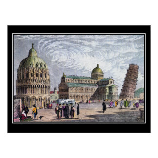 Pisa-Basilika und ragen Kunst-Vintages Plakat 1830