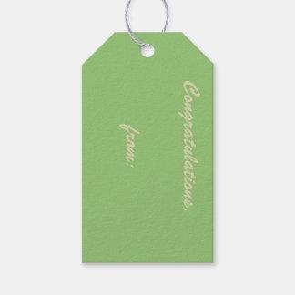 Pistazie-Farbige Glückwünsche (Goldskript) Geschenkanhänger