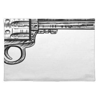 Pistolen-Gewehr-Vintage Retro Holzschnitt-Art Stofftischset