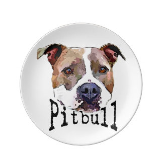 Pitbull Hund Porzellanteller