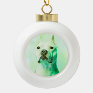 Pitbull Hundewasser-Farbporträt-Kunst Keramik Kugel-Ornament