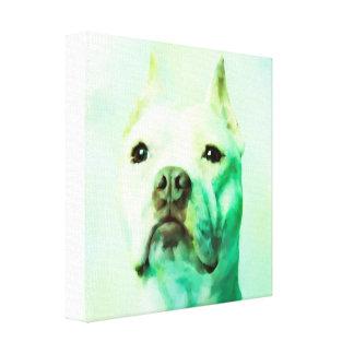 Pitbull Hundewasser-Farbporträt-Kunst Leinwanddruck