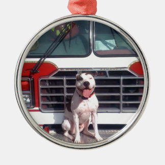 Pitbull-Knochen-Feuer-Haus-Hund Rundes Silberfarbenes Ornament