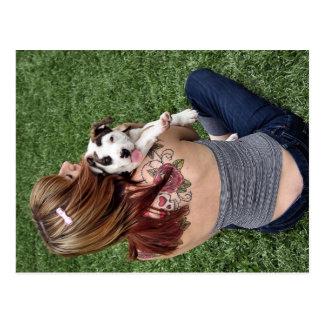 Pitbull-Knochen-glücklicher Welpe Postkarte