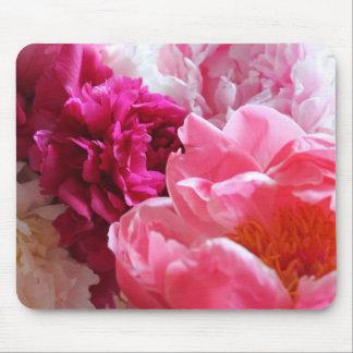 Pivoines roses et blanches en fleur - Mousepad Tapis De Souris