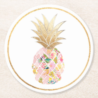 PixDezines Aloha Pineapples/DIY Hintergrund Runder Pappuntersetzer