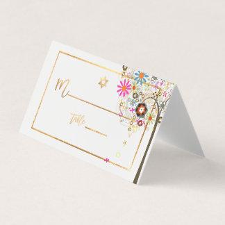 PixDezines Baum des Lebens+Mit Blumen+Imitat-Gold Platzkarte