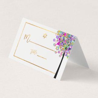 PixDezines Baum des Lebens+Rosa+Grün+Imitat-Gold Platzkarte