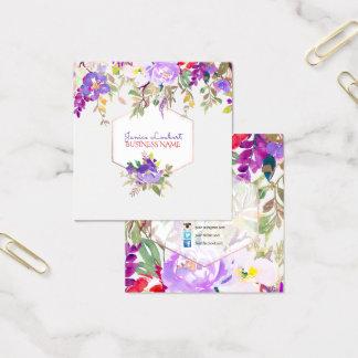 PixDezines BlumenAquarell/Frühlings-Blumenstrauß Quadratische Visitenkarte