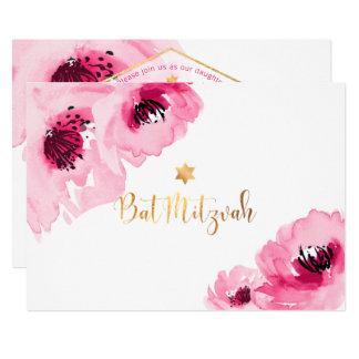 PixDezines BlumenWatercolor/Rosen/Schläger Mitzvah 12,7 X 17,8 Cm Einladungskarte
