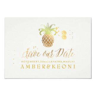 PixDezines goldene Ananas/retten unser Datum Karte