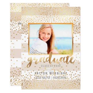 PixDezines Imitat-Goldconfetti-Abschluss/Streifen 12,7 X 17,8 Cm Einladungskarte