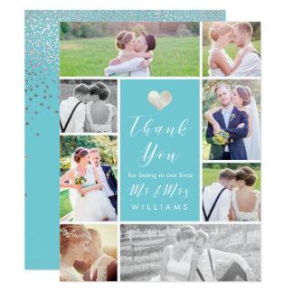 PixDezines Imitat-silbernes Herz danken You/DIY 10,8 X 14 Cm Einladungskarte