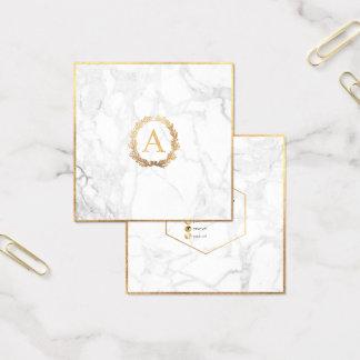 PixDezines Marmor+DIY Imitat-Goldmonogramm Quadratische Visitenkarte