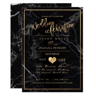PixDezines Marmor/Imitat-Gold/Hochzeits-Feier 12,7 X 17,8 Cm Einladungskarte