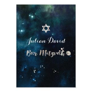 PixDezines Mitternachtshimmel-Bar Mitzvah ✡ 12,7 X 17,8 Cm Einladungskarte