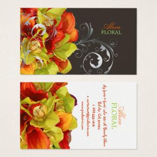 PixDezines orange Callalilien/grüne Orchideen Visitenkarte