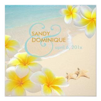 PixDezines Plumeria-Leu /beach/starfish tropisch Quadratische 13,3 Cm Einladungskarte