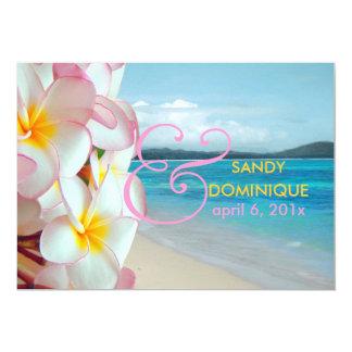 PixDezines rosa Plumeria/Strand/tropische Hochzeit 12,7 X 17,8 Cm Einladungskarte