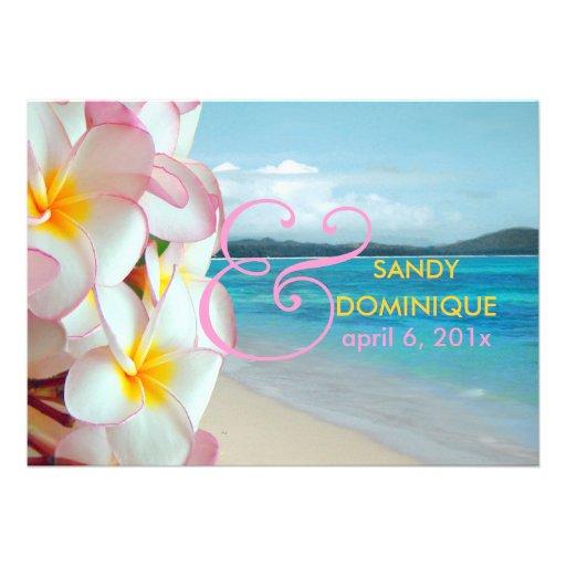 PixDezines rosa Plumeria/Strand/tropische Hochzeit Individuelle Ankündigungen