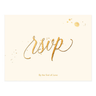 PixDezines RSVP/FAUX GOLD/FUN SCRIPT/DIY FARBE Postkarte